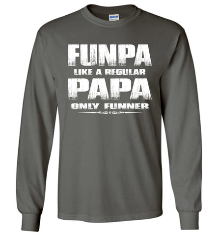 Image of Funpa Funny Papa Shirts Long Sleeve charcoal
