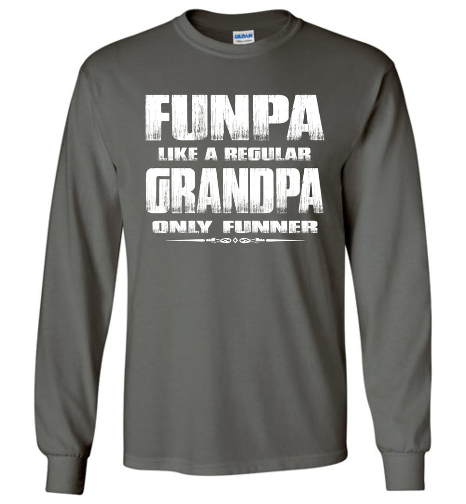 Funpa Funny Grandpa Shirts Long Sleeve charcoal