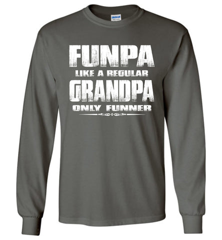 Image of Funpa Funny Grandpa Shirts Long Sleeve charcoal