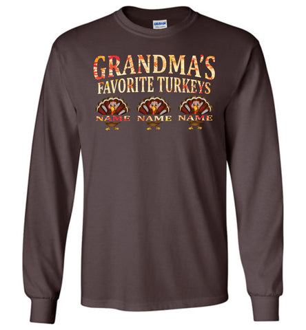 Image of Grandma's Favorite Turkeys Funny Fall Shirts Funny Grandma Shirts LS chocolate