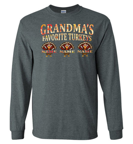 Image of Grandma's Favorite Turkeys Funny Fall Shirts Funny Grandma Shirts LS dark gray heather