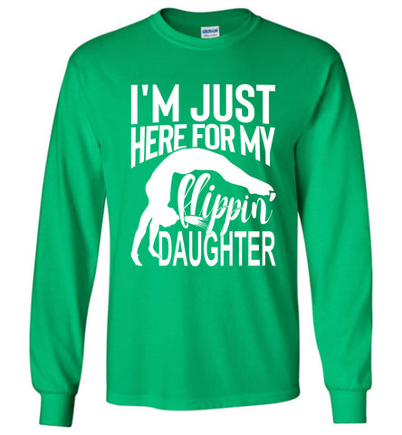 Image of Flippin' Daughter Funny Gymnastics Mom Shirts | Gymnastics Dad Shirt Long sleeve green