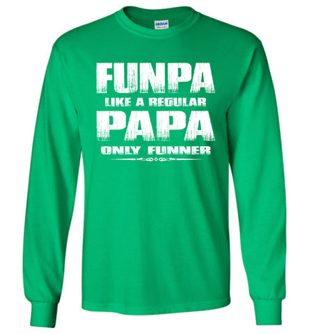 Image of Funpa Funny Papa Shirts Long Sleeve green