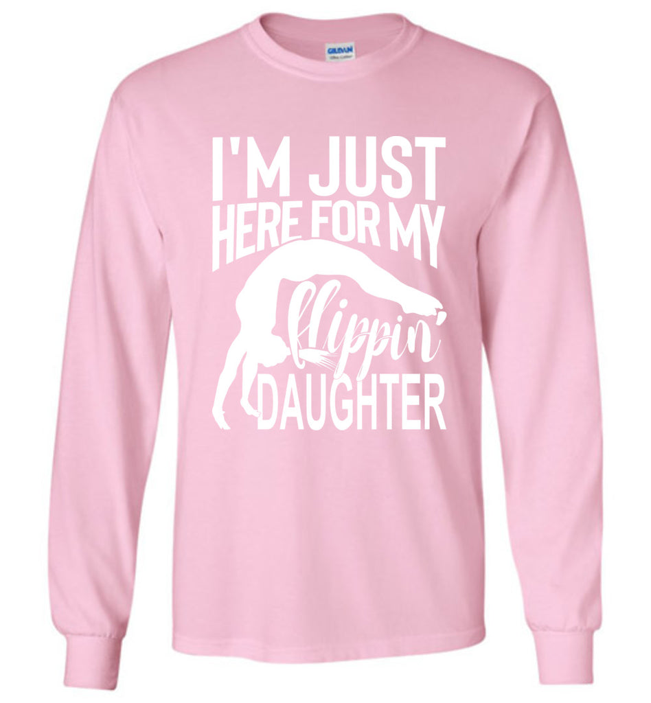 Flippin' Daughter Funny Gymnastics Mom Shirts | Gymnastics Dad Shirt Long sleeve pink