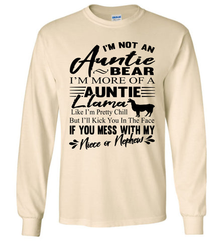 Auntie Llama Shirt | Auntie Bear Shirt | Funny Aunt Long Sleeve Shirts natural