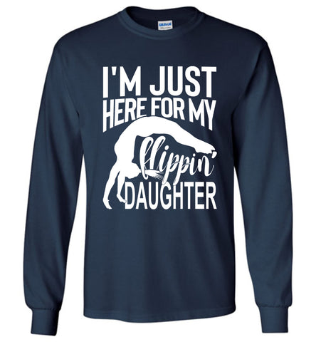 Image of Flippin' Daughter Funny Gymnastics Mom Shirts | Gymnastics Dad Shirt Long sleeve navy