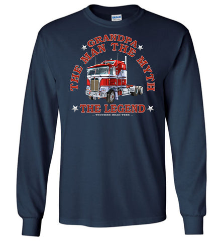 Image of Grandpa The Man The Myth The Legend Trucker LS Shirt navy