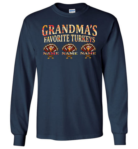 Image of Grandma's Favorite Turkeys Funny Fall Shirts Funny Grandma Shirts LS navy
