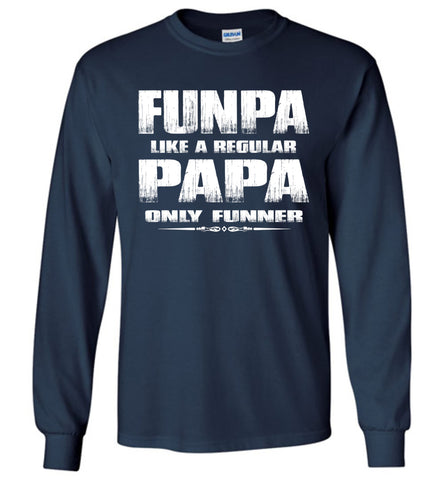 Funpa Funny Papa Shirts Long Sleeve navy