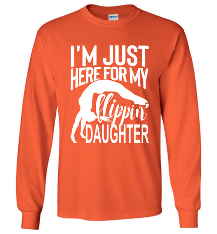 Image of Flippin' Daughter Funny Gymnastics Mom Shirts | Gymnastics Dad Shirt Long sleeve orange