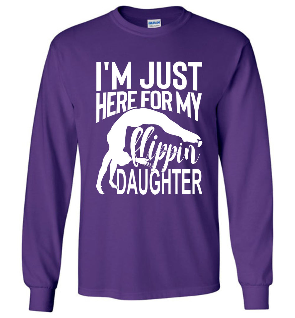 Flippin' Daughter Funny Gymnastics Mom Shirts | Gymnastics Dad Shirt Long sleeve purple