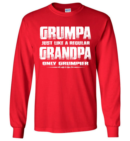 Grumpa Funny Grandpa Long Sleeve Shirts | Grandpa Gag Gifts red