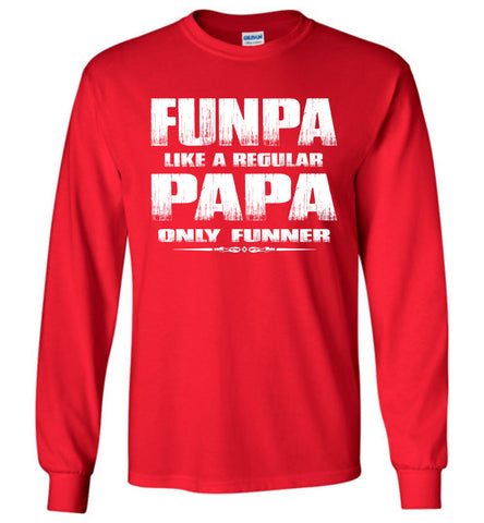 Image of Funpa Funny Papa Shirts Long Sleeve red