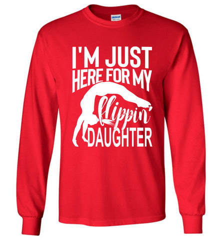 Image of Flippin' Daughter Funny Gymnastics Mom Shirts | Gymnastics Dad Shirt Long sleeve red