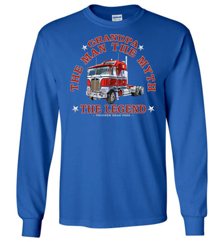 Image of Grandpa The Man The Myth The Legend Trucker LS Shirt royal