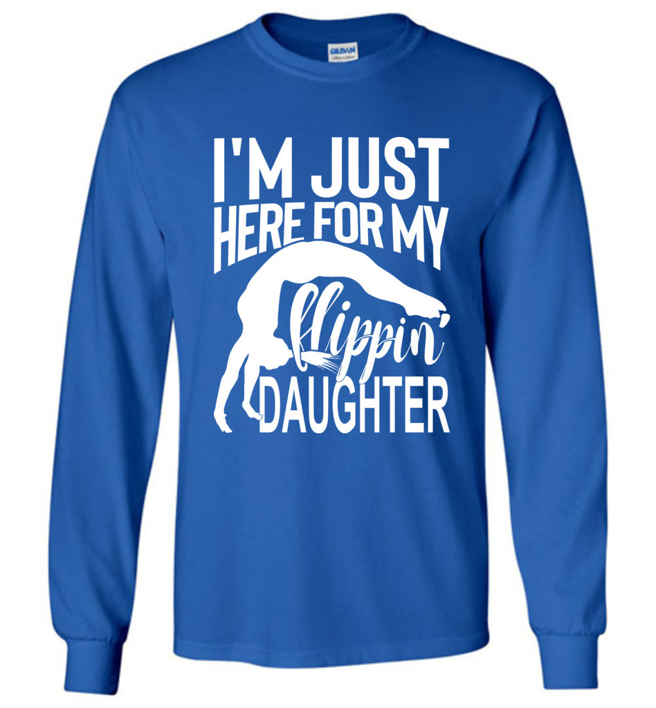 Flippin' Daughter Funny Gymnastics Mom Shirts | Gymnastics Dad Shirt Long sleeve royal
