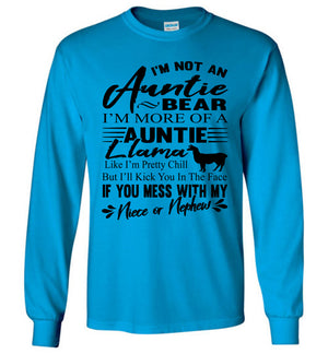 Auntie Llama Shirt | Auntie Bear Shirt | Funny Aunt Long Sleeve Shirts sapphire