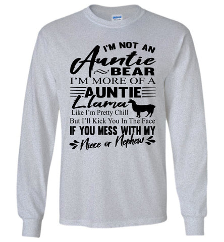 Auntie Llama Shirt | Auntie Bear Shirt | Funny Aunt Long Sleeve Shirts sports gray