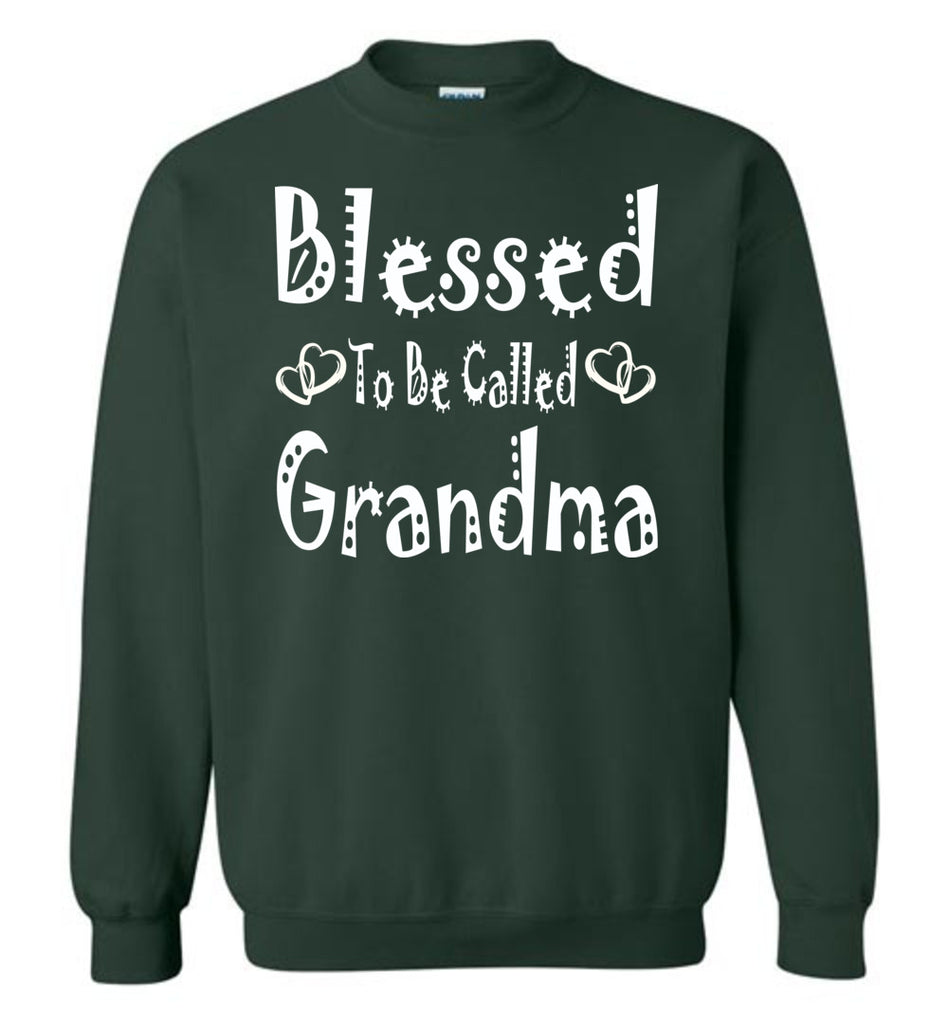 Blessed To Be Called Grandma Sweatshirts green