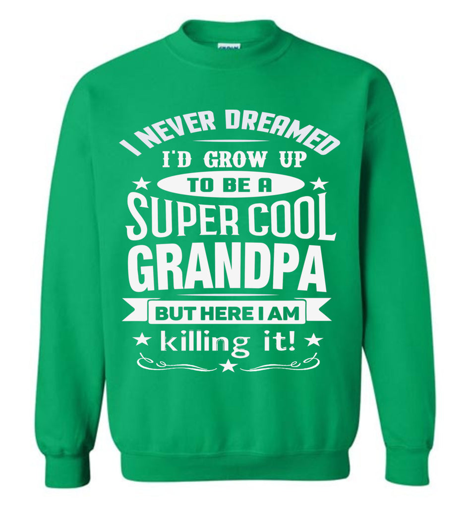 I Never Dreamed I'd Grow Up To Be A Super Cool Grandpa Sweatshirts green