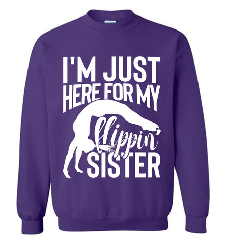 Image of I'm Just Here For My Flippin' Sister Gymnastics Brother Sister Sweatshirt purple