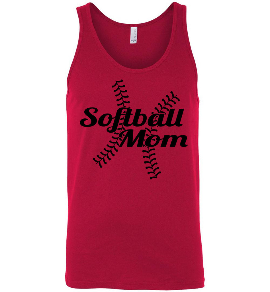 Softball Mom Tank Tops red