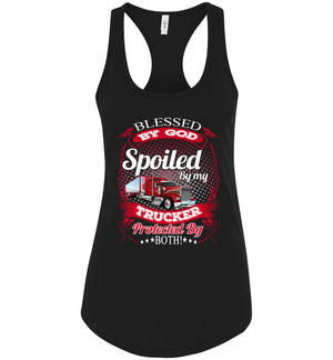 Blessed By God Spoiled By My Trucker Girlfriend Wife Tank Top black