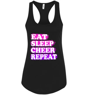 Eat Sleep Cheer Repeat Cheer Tank Top black