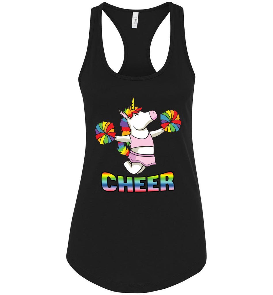 Unicorn Cheer Tank Tops Ladies Racerback Tank Black