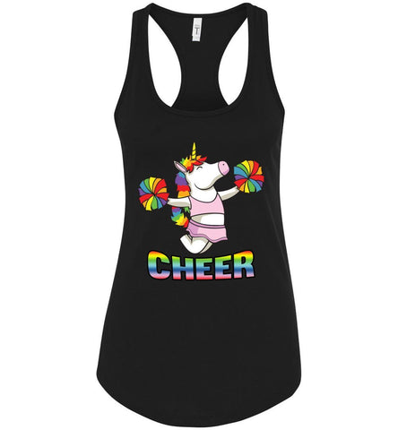 Image of Unicorn Cheer Tank Tops Ladies Racerback Tank Black