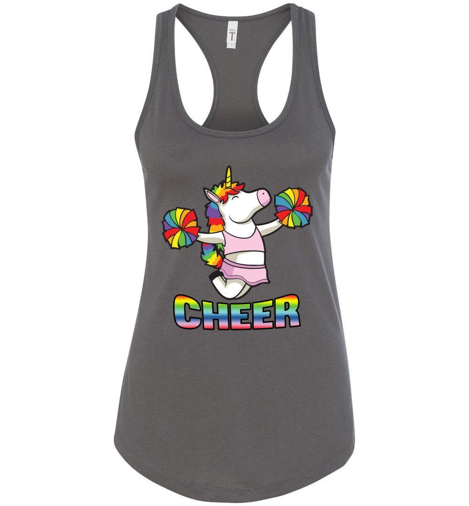 Unicorn Cheer Tank Tops Ladies Racerback Tank Dark Gray