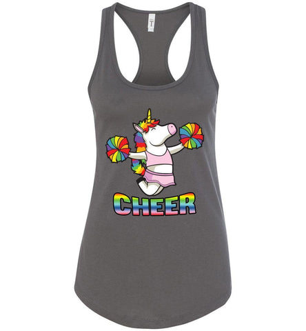 Image of Unicorn Cheer Tank Tops Ladies Racerback Tank Dark Gray
