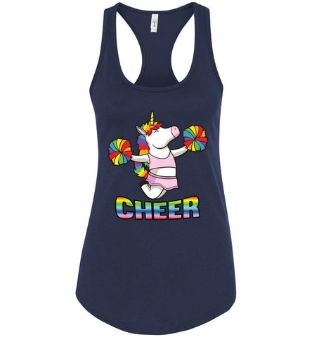 Image of Unicorn Cheer Tank Tops Ladies Racerback Tank Midnight Navy