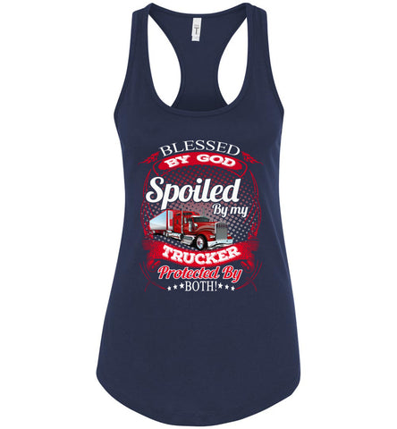 Blessed By God Spoiled By My Trucker Girlfriend Wife Tank Top navy