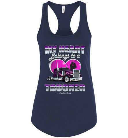 Image of My Heart Belongs To A Trucker Wife Tank Top navy