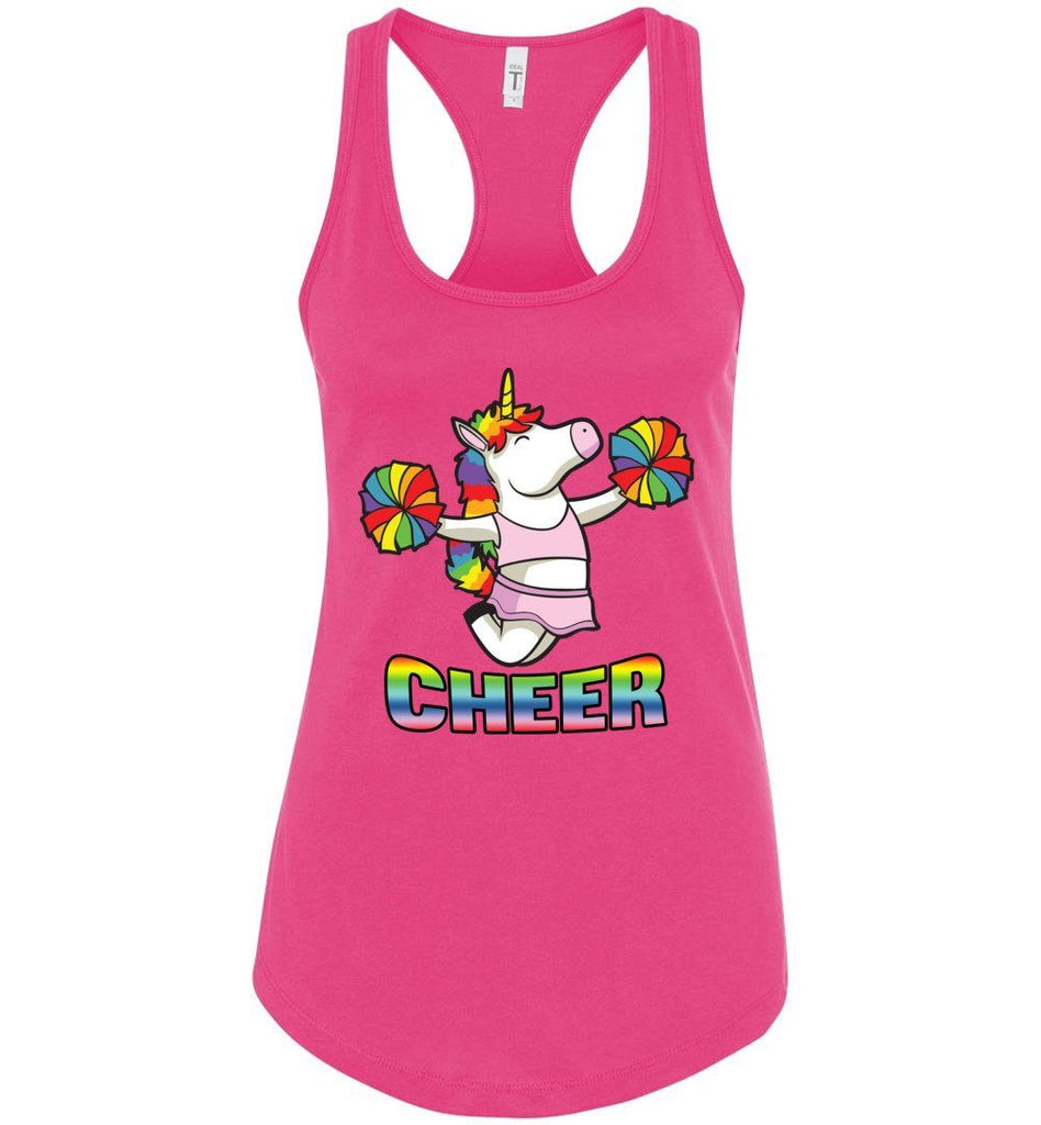 Unicorn Cheer Tank Tops Ladies Racerback Tank Rasberry