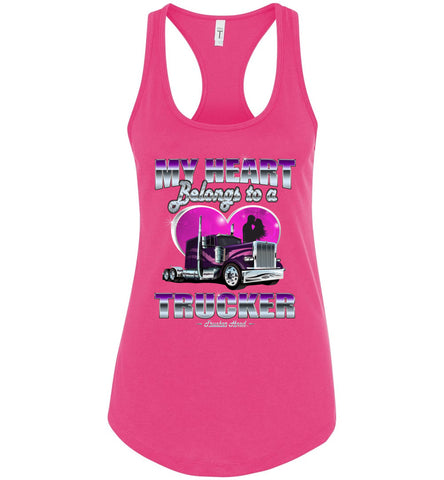 Image of My Heart Belongs To A Trucker Wife Tank Top pink
