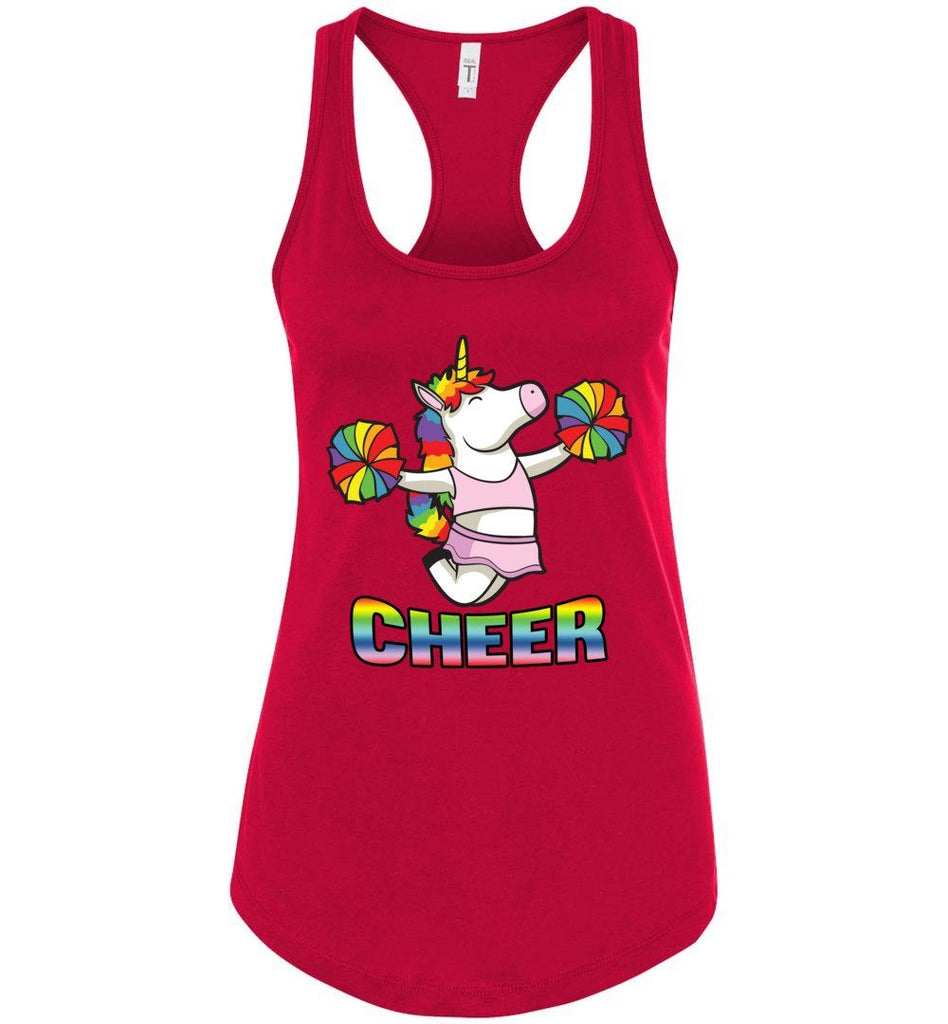 Unicorn Cheer Tank Tops Ladies Racerback Tank Red