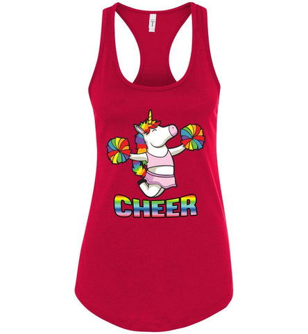 Image of Unicorn Cheer Tank Tops Ladies Racerback Tank Red