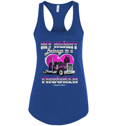 Image of My Heart Belongs To A Trucker Wife Tank Top royal