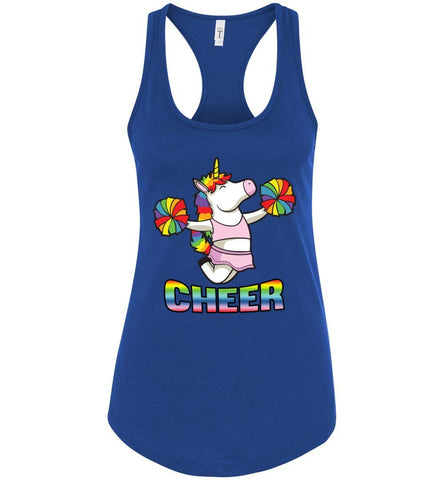 Image of Unicorn Cheer Tank Tops Ladies Racerback Tank Royal Blue