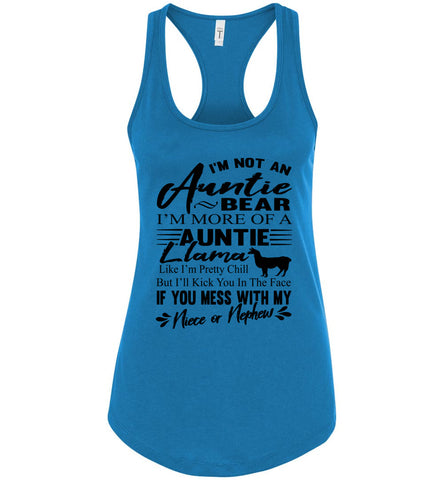 Auntie Llama Shirt | Auntie Bear Shirt | Funny Aunt Tank Tops racerback turquoises