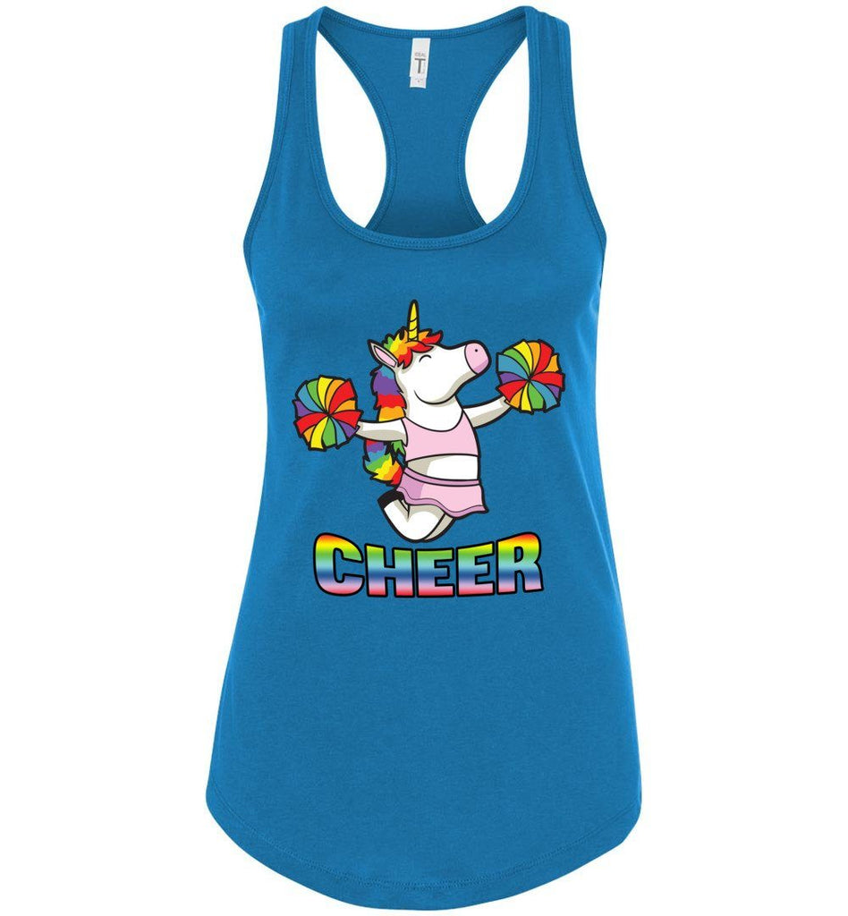 Unicorn Cheer Tank Tops Ladies Racerback Tank Turquoise