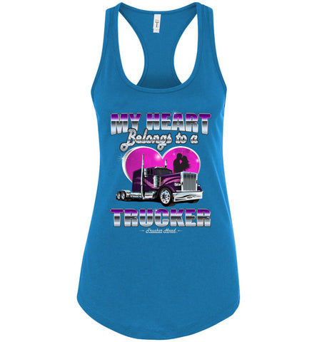 Image of My Heart Belongs To A Trucker Wife Tank Top turquoise