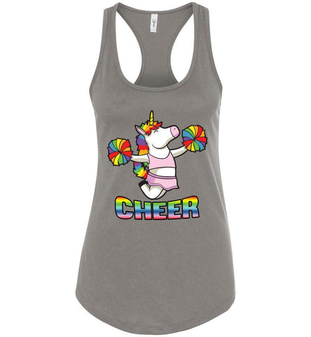 Image of Unicorn Cheer Tank Tops Ladies Racerback Tank Warm Gray