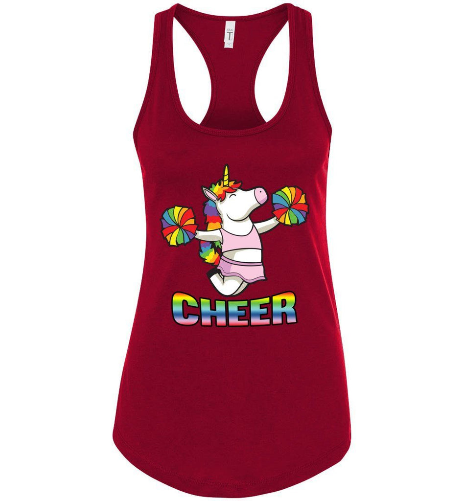 Unicorn Cheer Tank Tops Ladies Racerback Tank Scarlet