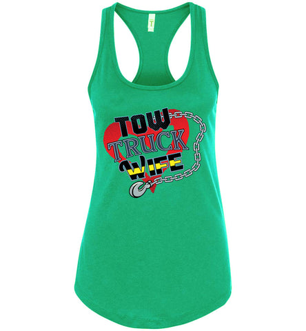 Tow Truck Wife Tank Top racerback kelly green