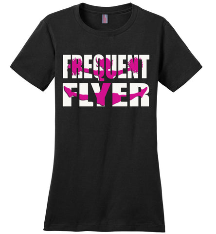 Image of Frequent Flyer Cheer Flyer T Shirt Pink Design ladies crew black