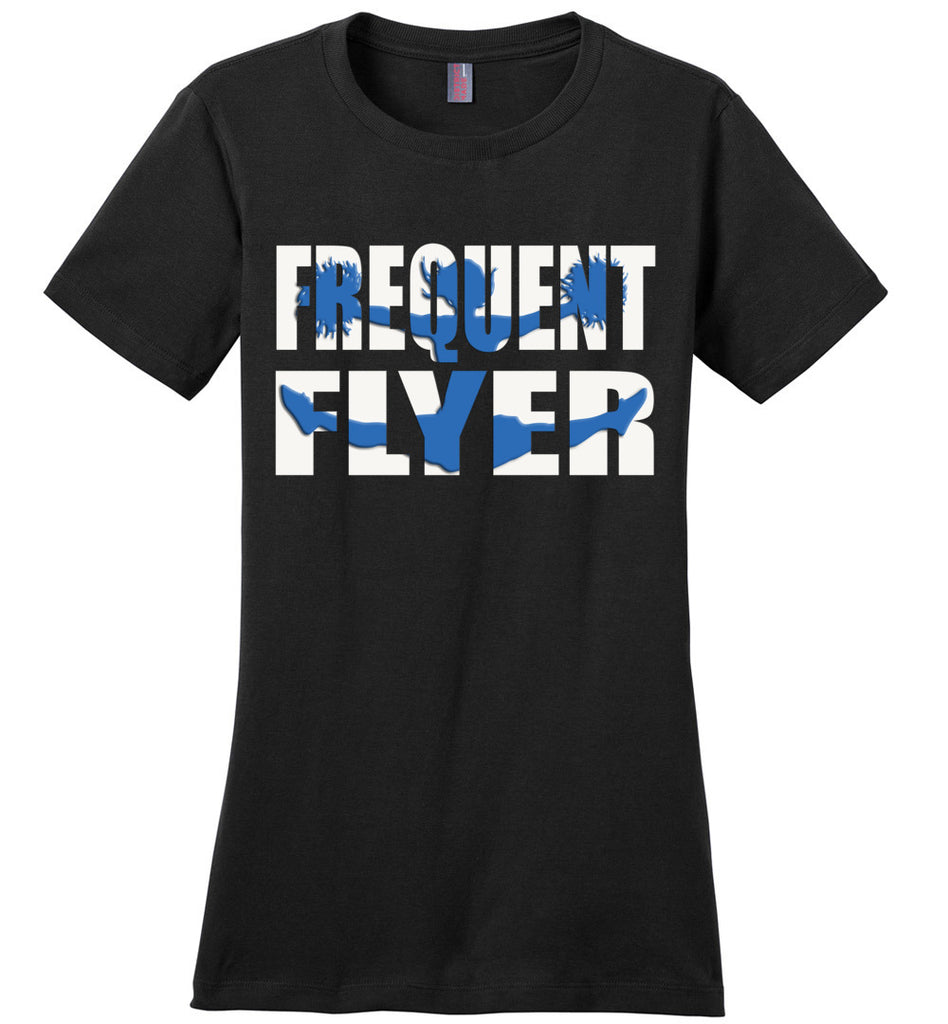Frequent Flyer Cheer Flyer T Shirt - Blue ladies crew black