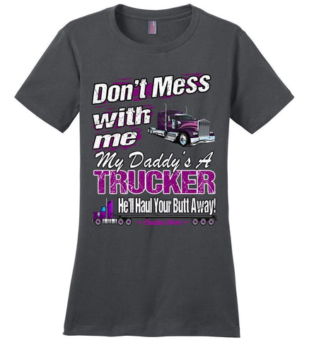 Don't Mess With Me My Daddy's A Trucker Kid's Trucker Tee lc